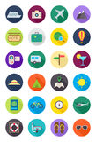Color round traveling icons set Royalty Free Stock Photos