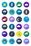 Color round weather forecast icons set Stock Photography