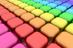 Color Rounded Cubes. Ordered elements conforming a very symmetric and balanced spectrum of tonal range of primary and secondary colors Stock Images