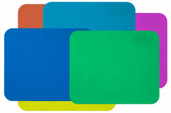Color rubber mouse pads. On white stock photos