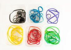 Color Rubberbands In Containers Royalty Free Stock Images