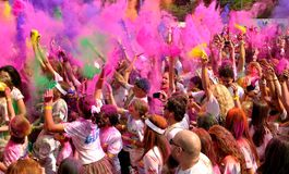 The Color Run Bucharest. Dero, make up, happy Royalty Free Stock Photography