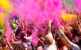 The Color Run Bucharest. Dero, make up, happy stock images