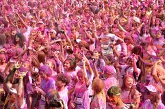 The Color Run Bucharest. Dero, make up, happy royalty free stock images