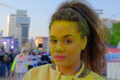 The Color Run 2017 in Bucharest, Romania. The Color Run, also known as the Happiest 5k on the Planet, is a unique paint race that celebrates healthiness royalty free stock image