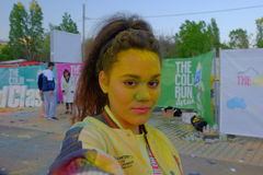 The Color Run 2017 in Bucharest, Romania. The Color Run, also known as the Happiest 5k on the Planet, is a unique paint race that celebrates healthiness royalty free stock photo