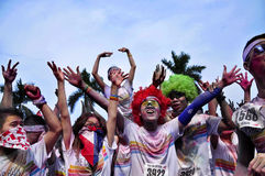 The Color Run. Carnival people in The Color Run GUANGZHOU Royalty Free Stock Image