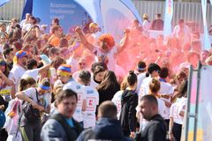Color Run Festival Cluj Napoca 2019, Romania. Crowd of people having fun, throwing Colorful Dust at the Color Run Cluj Napoca 2019, Romania royalty free stock images