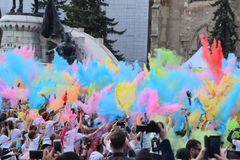 Color Run Festival Cluj Napoca 2019, Romania. Crowd of people having fun, throwing Colorful Dust at the Color Run Cluj Napoca 2019, Romania royalty free stock photography