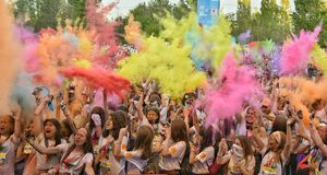 The Color Run Hero Tour Bucharest stock photo
