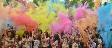 The Color Run Hero Tour Bucharest stock images
