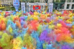 The Color Run Hero Tour Bucharest Stock Photo