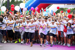 The Color Run - Italy. TORINO, ITALY  May 10, 2014: Color run held in Valentino's Park in May 2014. The color is run a foot race; it is present in more than 30 Stock Photos
