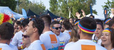 The Color run - Mamaia 2015, Romania. MAMAIA, ROMANIA - AUGUST 1, 2015. Happy unidentified people at The Color Run 2015.The Color Run is a worldwide hosted fun royalty free stock images