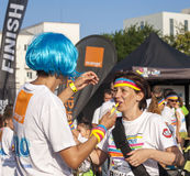 The Color run - Mamaia 2015, Romania. MAMAIA, ROMANIA - AUGUST 1, 2015. Happy unidentified people at The Color Run 2015.The Color Run is a worldwide hosted fun stock photo