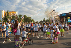 The Color run - Mamaia 2015, Romania. MAMAIA, ROMANIA - AUGUST 1, 2015. Happy unidentified people at The Color Run 2015.The Color Run is a worldwide hosted fun royalty free stock photography