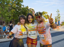 The Color run - Mamaia 2015, Romania. MAMAIA, ROMANIA - AUGUST 1, 2015. Happy unidentified people at The Color Run 2015.The Color Run is a worldwide hosted fun royalty free stock image