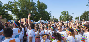 The Color run - Mamaia 2015, Romania. MAMAIA, ROMANIA - AUGUST 1, 2015. Happy unidentified people at The Color Run 2015.The Color Run is a worldwide hosted fun stock image