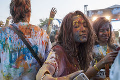 The Color run - Mamaia 2015, Romania. MAMAIA, ROMANIA - AUGUST 1, 2015. Happy unidentified people at The Color Run 2015.The Color Run is a worldwide hosted fun stock photos