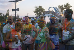 The Color run - Mamaia 2015, Romania. MAMAIA, ROMANIA - AUGUST 1, 2015. Happy unidentified people at The Color Run 2015.The Color Run is a worldwide hosted fun royalty free stock photos