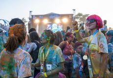 The Color run - Mamaia 2015, Romania. MAMAIA, ROMANIA - AUGUST 1, 2015. Happy unidentified people at The Color Run 2015.The Color Run is a worldwide hosted fun stock images