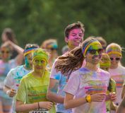 The Color run in Prague, Czech republic stock images