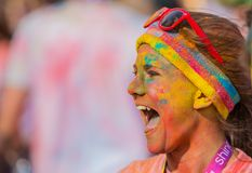 The Color run in Prague, Czech republic royalty free stock images