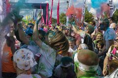 The Color Run Warsaw 2019. WARSAW, POLAND - June 1, 2019. Participants coated in paint celebrate healthiness, peace, individuality at unique colorful 5 km run royalty free stock image