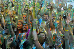 The Color Run is a worldwide hosted fun race Stock Photo