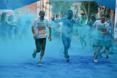The Color Run is a worldwide hosted fun race. In Cluj Napoca Romania Stock Photos