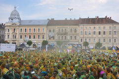 The Color Run is a worldwide hosted fun race. In Cluj Napoca Romania Stock Photo