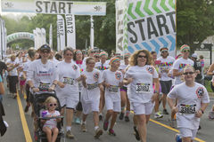 Color Runners Happily Start the Race Stock Image