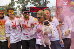 Color runners posing covered with powder paint Royalty Free Stock Photos