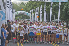Color Runners At the Starting Line Stock Photography