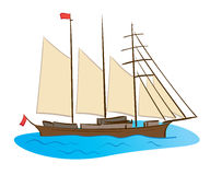 Color sailing ship - vector Royalty Free Stock Photos