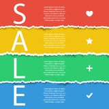 Color sale poster. Torn paper effect. Stock Photo