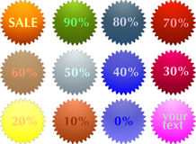 Color sale tag stickers with discount Royalty Free Stock Image