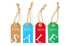 Color sale tags. On White background Stock Photography