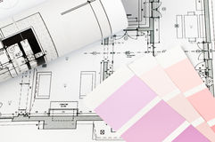 Color sample and technical drawing Stock Photos