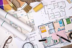 Color sampler with house plan and drawing tools. Color sampler with house plan and drawing tools Stock Photography