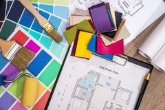 Color sampler with house plan and drawing tools. Color sampler with house plan and drawing tools Royalty Free Stock Photos