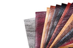 Color samples of different leather Stock Photos