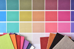 Color samples with materials for interior decoration top view Stock Photo