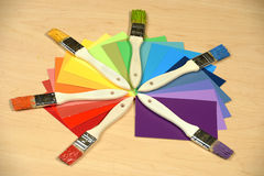 Color Samples with Painbrushes Royalty Free Stock Images