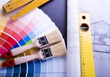 Color samples & Plan stock images