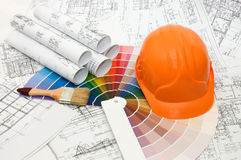Color samples for selection with house plan Stock Photography