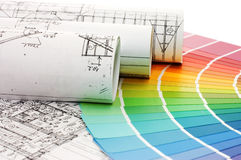 Color samples for selection with house plan Royalty Free Stock Photos