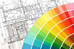 Color samples for selection with house plan Stock Photos