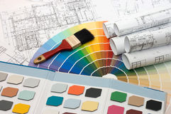 Color samples for selection with house plan Royalty Free Stock Photography