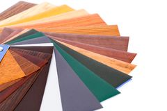 Color samples. Wood coating color samples on white background Stock Photography